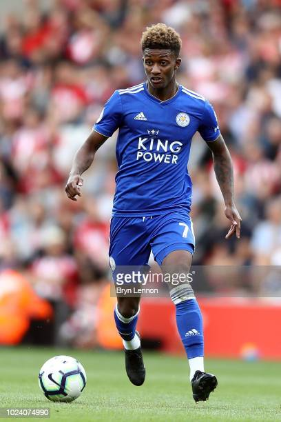 Demarai Gray of Leicester City in action during the Premier League match between Southampton FC and Leicester City at St Mary's Stadium on August 25...