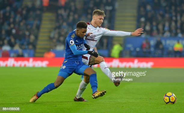 Demarai Gray of Leicester City in action with Jeff Hendrick of Burnley during the Premier League match between Leicester City and Burnley at King...