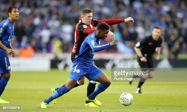Demarai Gray of Leicester City in action with John Lundstram of Sheffield United during the Carabao Cup Second Round tie between Sheffield United and...