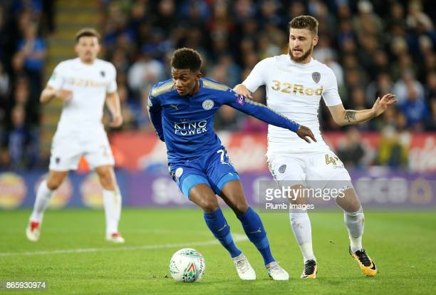 Demarai Gray of Leicester City in action with Mateusz Klich of Leeds United during the Carabao Cup match between Leicester City and Leeds United at...