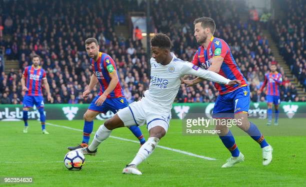 Demarai Gray of Leicester City in action with Yohan Cabaye of Crystal Palace during the Premier League match between Crystal Palace and Leicester...