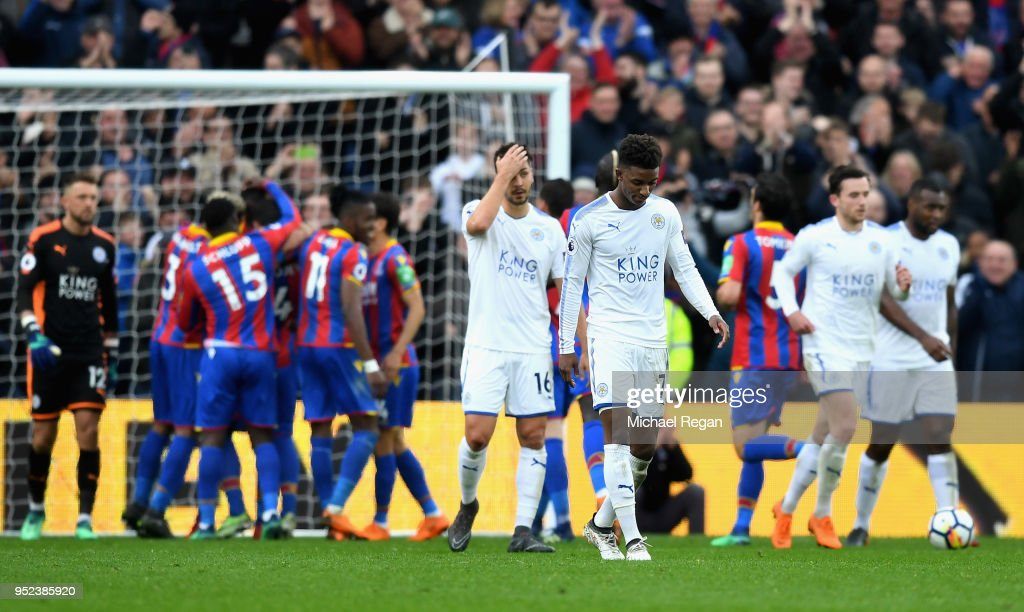 Demarai Gray of Leicester City looks dejected during the Premier League match between Crystal Palace and Leicester City at Selhurst Park on April 28, 2018 in London, England.