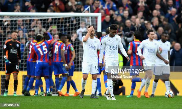 Demarai Gray of Leicester City looks dejected during the Premier League match between Crystal Palace and Leicester City at Selhurst Park on April 28...