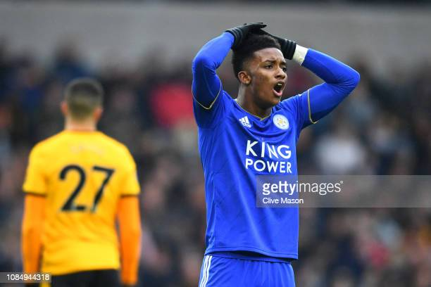 Demarai Gray of Leicester City reacts during the Premier League match between Wolverhampton Wanderers and Leicester City at Molineux on January 19...