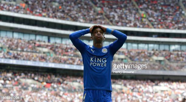 Demarai Gray of Leicester City reacts during the Premier League match between Tottenham Hotspur and Leicester City at Wembley Stadium on May 13 2018...