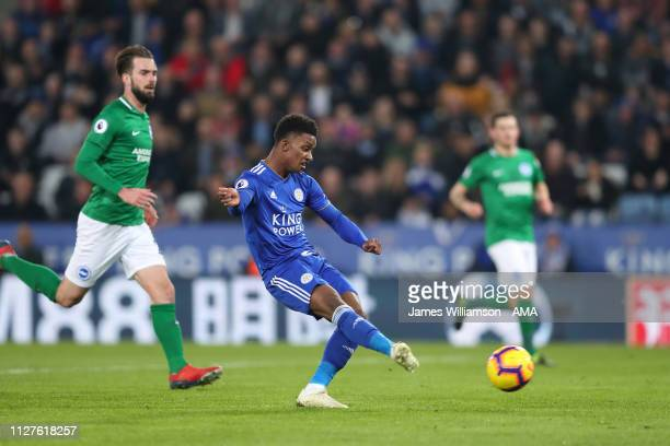 Demarai Gray of Leicester City scores a goal to make it 10 during the Premier League match between Leicester City and Brighton Hove Albion at The...