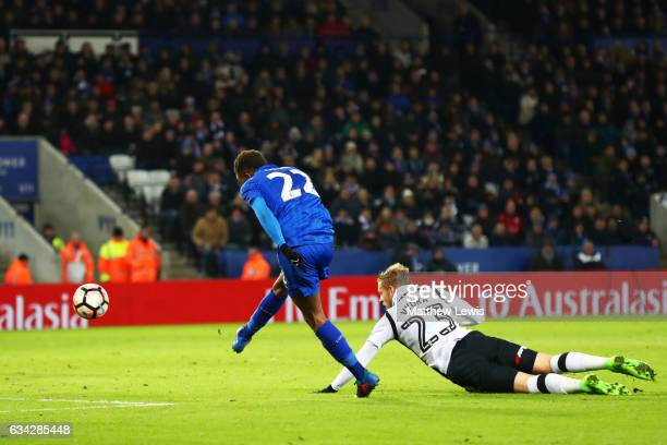 Demarai Gray of Leicester City scores his team's third goal during the Emirates FA Cup Fourth Round replay match between Leicester City and Derby...