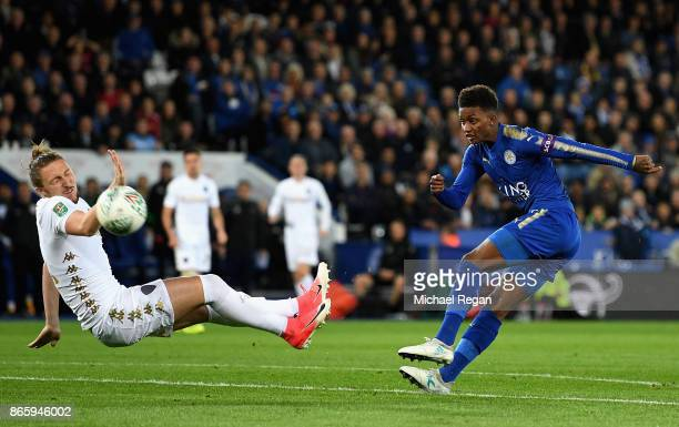 Demarai Gray of Leicester City shoots past Luke Ayling of Leeds United during the Caraboa Cup Fourth Round match between Leicester City and Leeds...