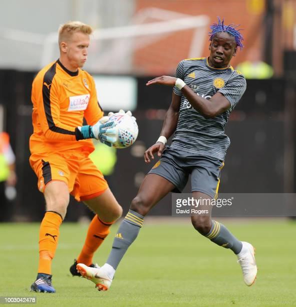 Demarai Gray of Leiester City celebrates with team mate Callum Elder after scoring their third goal durng the preseason friendly match between Notts...
