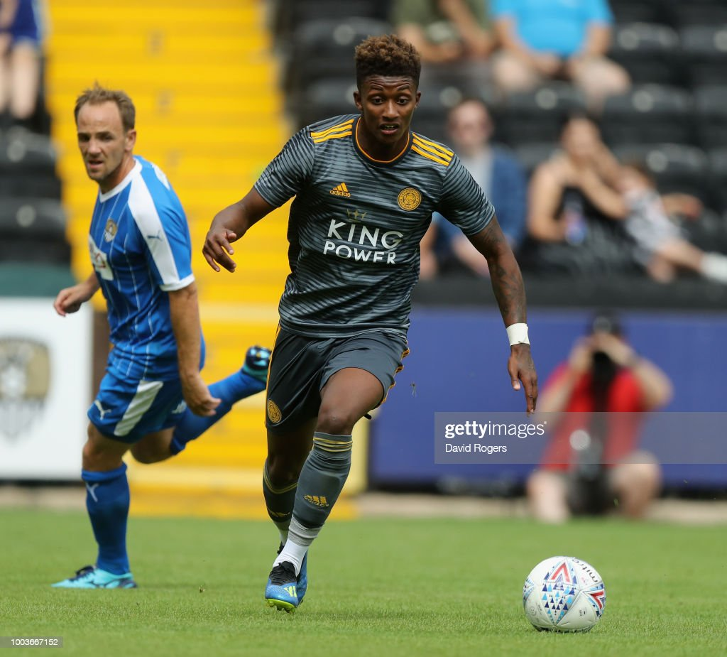 Demarai Gray of Leiester City moves away with the ball durng the pre-season friendly match between Notts County and Leicester City at Meadow Lane on July 21, 2018 in Nottingham, England.