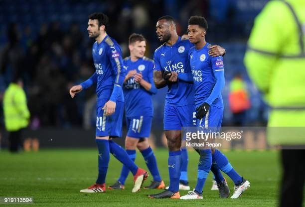 Demarai Gray Wes Morgan Vicente Iborra and Marc Albirghton at the final whistle during The Emirates FA Cup Fifth Round match between Leicester City...
