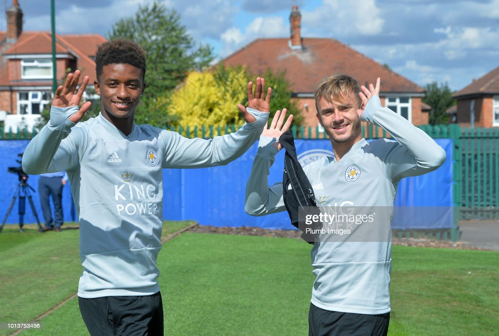 Demarai Gray (L) with James Maddison (R) during the Leicester City training session at Belvoir Drive Training Complex on August 08, 2018 in Leicester, United Kingdom.