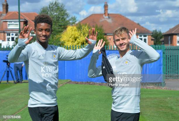 Demarai Gray with James Maddison during the Leicester City training session at Belvoir Drive Training Complex on August 08 2018 in Leicester United...