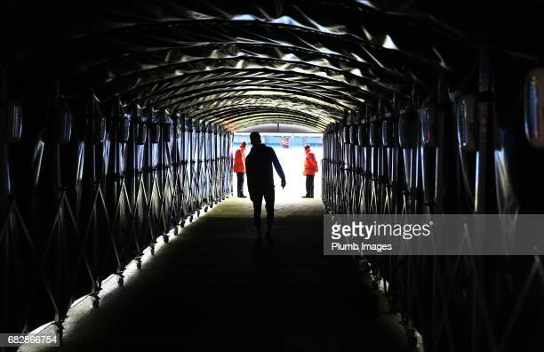 Demarai Grey of Leicester City walks down the tunnel at Etihad Stadium ahead of the Premier League match between Manchester City and Leicester City...