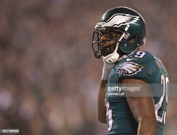 DeMarco Murray of the Philadelphia Eagles reacts after a touchdown against the Washington Redskins on December 26, 2015 at Lincoln Financial Field in...