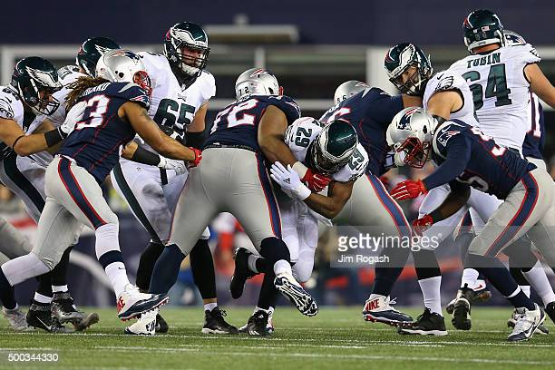 DeMarco Murray of the Philadelphia Eagles runs with the ball during the game against the New England Patriots at Gillette Stadium on December 6 2015...