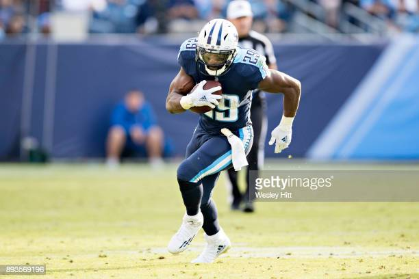 DeMarco Murray of the Tennessee Titans runs the ball during a game against the Houston Texans at Nissan Stadium on December 3, 2017 in Nashville,...