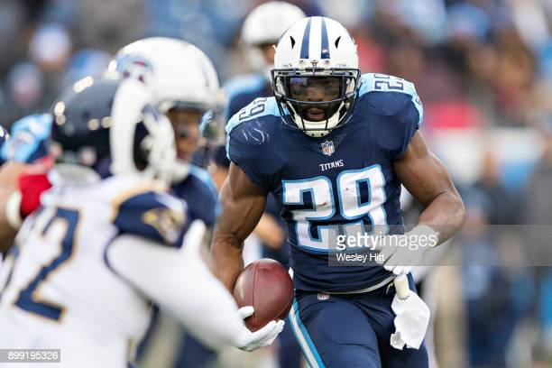 DeMarco Murray of the Tennessee Titans runs the ball during a game against the Los Angeles Rams at Nissan Stadium on December 24, 2017 in Nashville,...