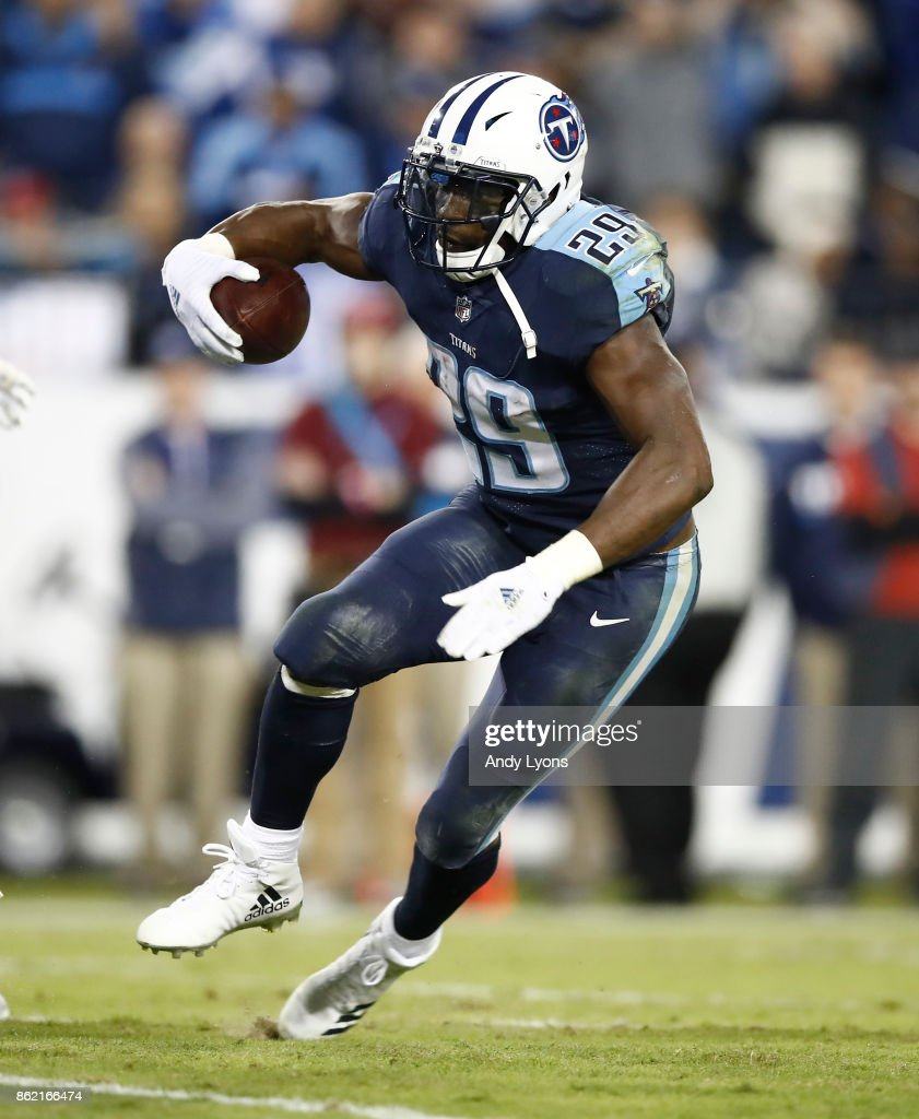DeMarco Murray #29 of the Tennessee Titans runs with the ball against the Indianapolis Colts at Nissan Stadium on October 16, 2017 in Nashville, Tennessee.