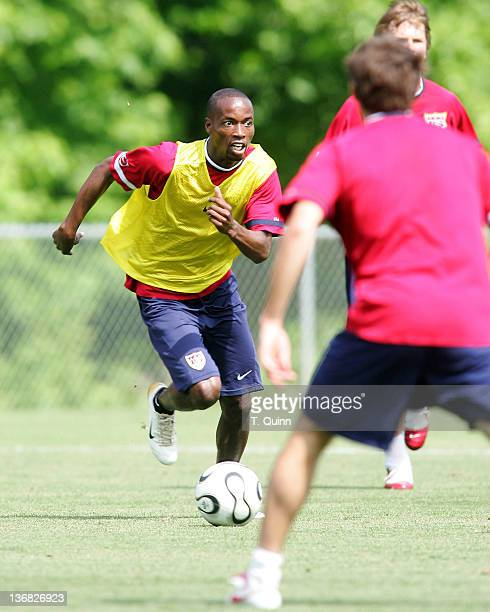 DeMarcus Beasley makes a move in the final training session at the camp at SAS Park, in Cary, North Carolina on May 21 2006.