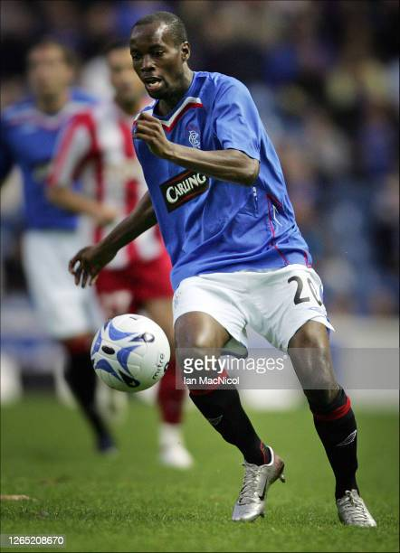 DeMarcus Beasley of Rangers is seen in action during the Uefa Champions league 3rd Round Qualifier match between Rangers and Red Star Belgrade at...
