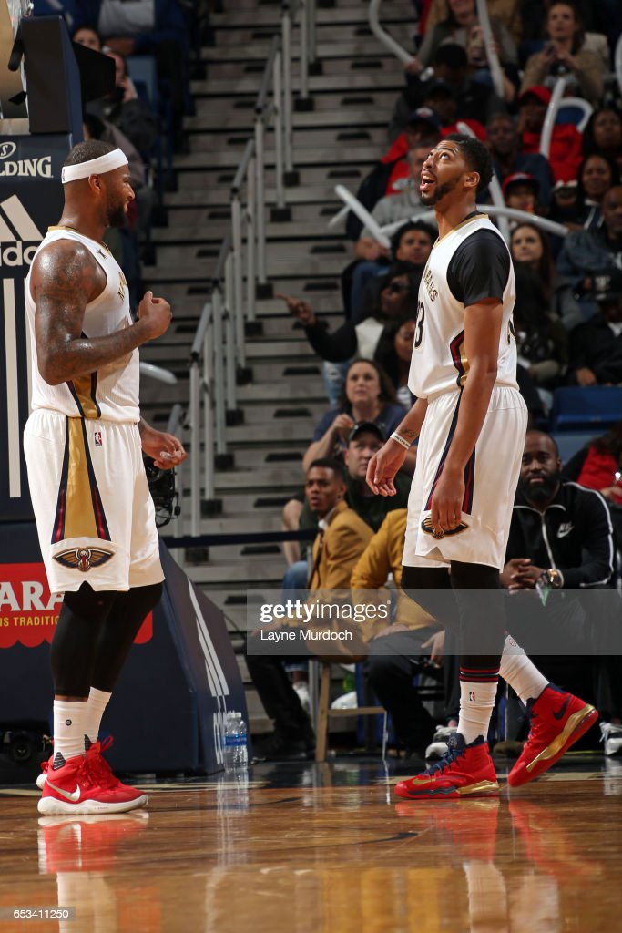 DeMarcus Cousins and Anthony Davis of the New Orleans Pelicans react ... e01a8e5a2