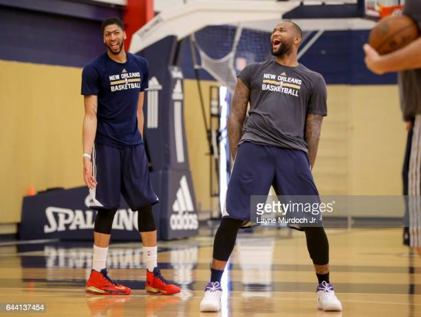 DeMarcus Cousins and Anthony Davis of the New Orleans Pelicans work out together during practice on February 22 2017 at the New Orleans Pelicans...