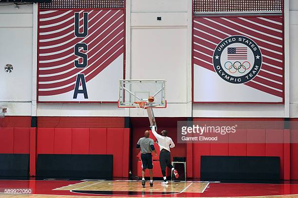 DeMarcus Cousins and Monty Williams of the USA Basketball Men's National Team practice during the Rio 2016 Olympic Games on August 15 2016 at the...