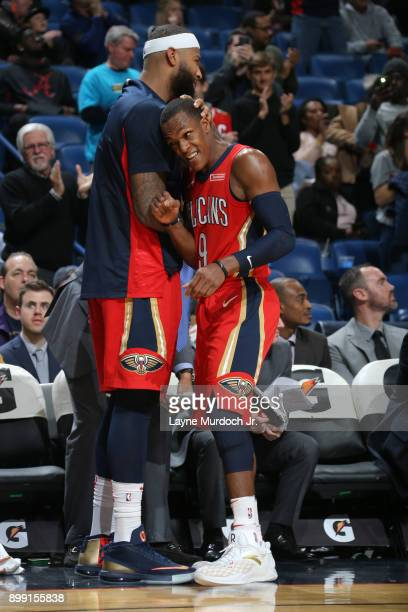 DeMarcus Cousins and Rajon Rondo of the New Orleans Pelicans during the game against the Brooklyn Nets on December 27 2017 at Smoothie King Center in...