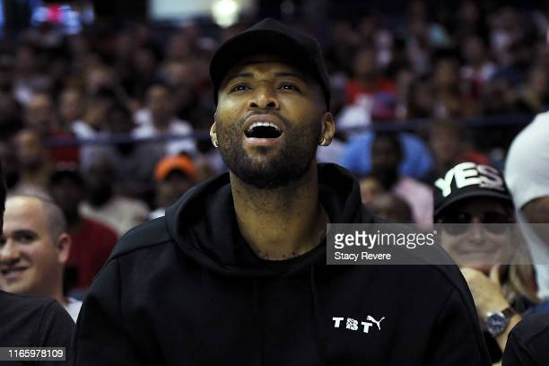 DeMarcus Cousins looks on during the game between the Enemies and Power during week seven of the BIG3 three on three basketball league at Allstate...