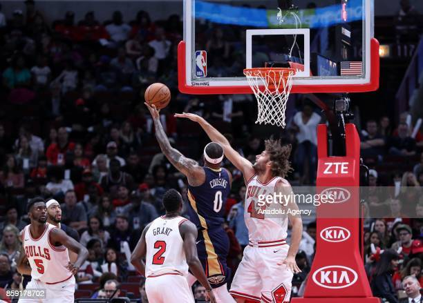 DeMarcus Cousins of New Orleans Pelicans in action during a preseason NBA game between Chicago Bulls and New Orleans Pelicans at the United Center on...