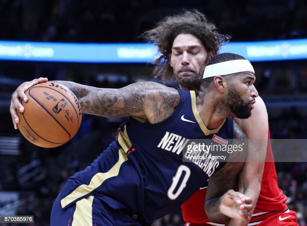 DeMarcus Cousins of New Orleans Pelicans in action during an NBA Game between Chicago Bulls and New Orleans Pelicans at the United Center in Chicago...