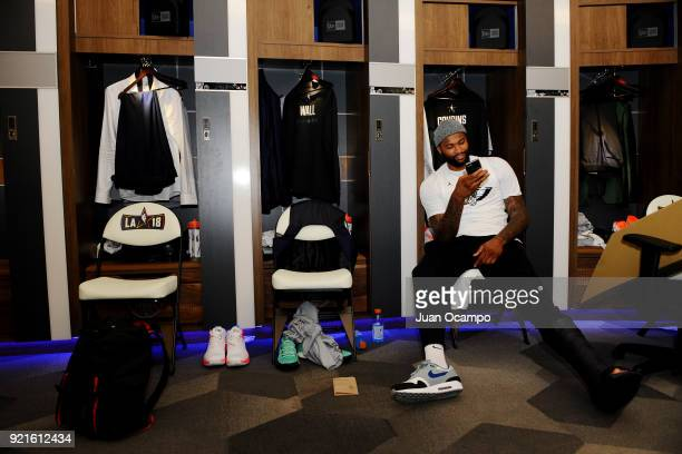 DeMarcus Cousins of team LeBron looks on in the locker room prior to the NBA AllStar Game as a part of 2018 NBA AllStar Weekend at STAPLES Center on...
