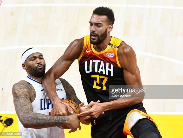 DeMarcus Cousins of the LA Clippers strips the ball from Rudy Gobert of the Utah Jazz in Game One of the Western Conference second-round playoff...