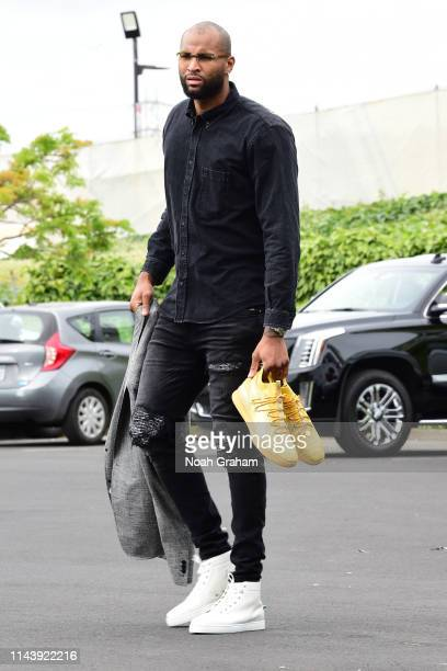 DeMarcus Cousins of the Golden State Warriors arrives at the arena before Game One of the 2019 Western Conference Finals of the NBA Playoffs against...