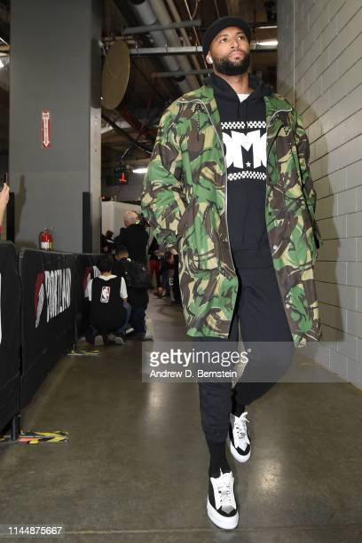 DeMarcus Cousins of the Golden State Warriors arrives before Game Three of the Western Conference Finals against the Portland Trail Blazers on May 18...