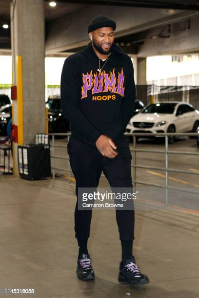 DeMarcus Cousins of the Golden State Warriors arrives before Game Four of the Western Conference Finals against the Portland Trail Blazers on May 20...
