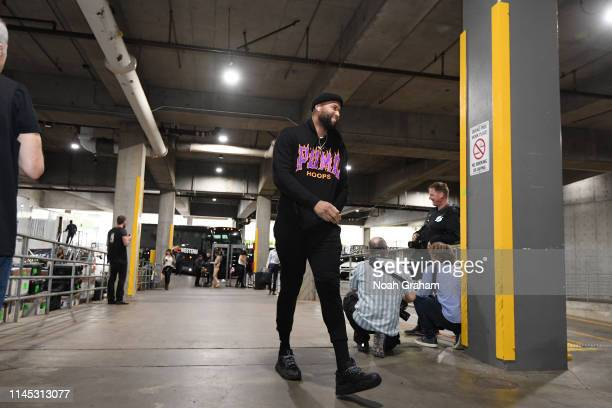 DeMarcus Cousins of the Golden State Warriors arrives for Game Four of the Western Conference Finals on May 20 2019 at the Moda Center in Portland...