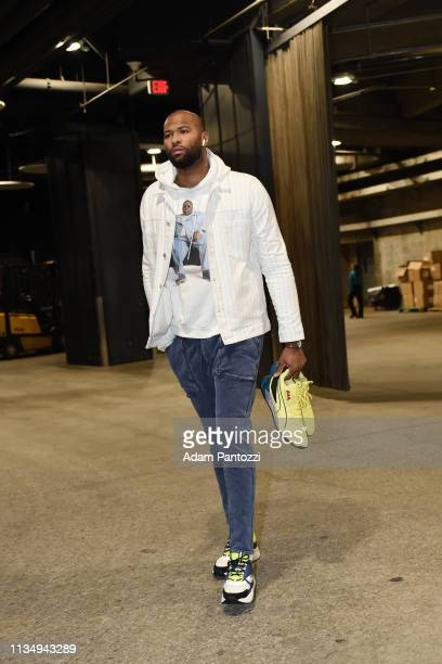 DeMarcus Cousins of the Golden State Warriors arrives prior to a game against the Los Angeles Lakers on April 4 2019 at STAPLES Center in Los Angeles...