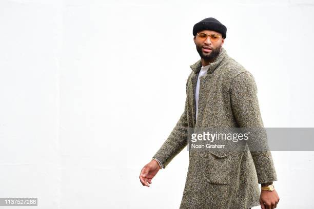 DeMarcus Cousins of the Golden State Warriors arrives to the arena before Game Two of Round One of the 2019 NBA Playoffs against the LA Clippers on...