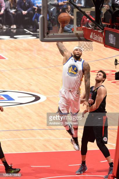 DeMarcus Cousins of the Golden State Warriors dunks the ball against the LA Clippers on January 18 2019 at STAPLES Center in Los Angeles California...