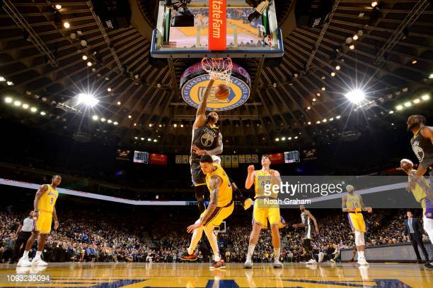 DeMarcus Cousins of the Golden State Warriors dunks the ball against the Los Angeles Lakers on February 2 2019 at ORACLE Arena in Oakland California...