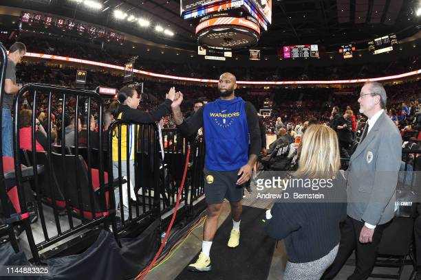 DeMarcus Cousins of the Golden State Warriors leaves the court before Game Three of the Western Conference Finals against the Portland Trail Blazers...