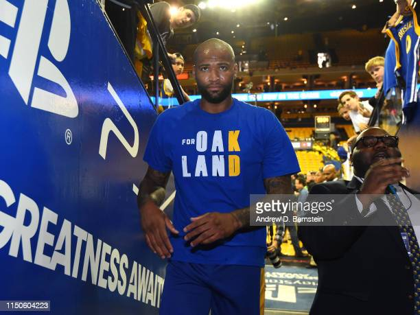 DeMarcus Cousins of the Golden State Warriors looks on prior to Game Six of the NBA Finals against the Toronto Raptors on June 13 2019 at ORACLE...