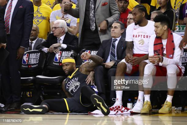 DeMarcus Cousins of the Golden State Warriors reacts against the Toronto Raptors in the first half during Game Six of the 2019 NBA Finals at ORACLE...