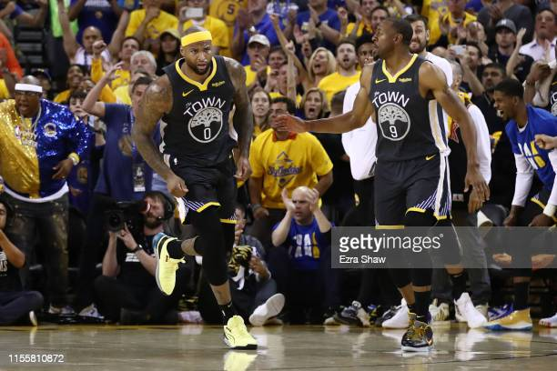 DeMarcus Cousins of the Golden State Warriors reacts against the Toronto Raptors in the second half during Game Six of the 2019 NBA Finals at ORACLE...
