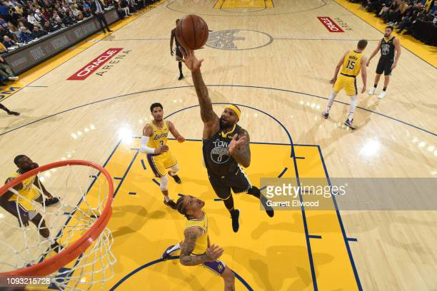 DeMarcus Cousins of the Golden State Warriors shoots the ball against the Los Angeles Lakers on February 2 2019 at the Pepsi Center in Denver...