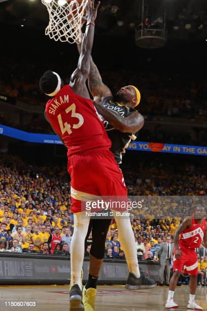 DeMarcus Cousins of the Golden State Warriors shoots the ball against the Toronto Raptors during Game Six of the 2019 NBA Finals on June 13 2019 at...