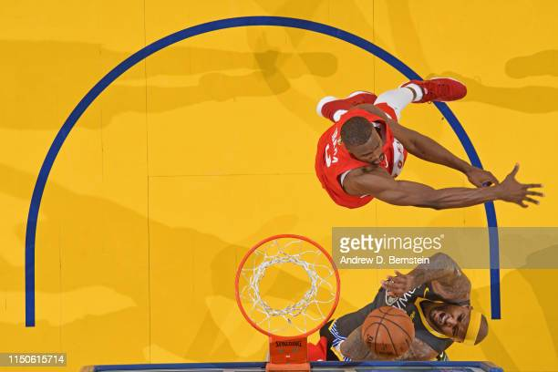 DeMarcus Cousins of the Golden State Warriors shoots the ball against the Toronto Raptors during Game Six of the NBA Finals on June 13 2019 at ORACLE...