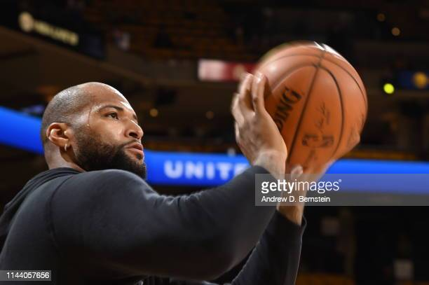 DeMarcus Cousins of the Golden State Warriors warms up before Game One of the 2019 Western Conference Finals of the NBA Playoffs at the ORACLE Arena...